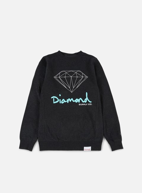 felpe diamond supply og sign crewneck charcoal heather