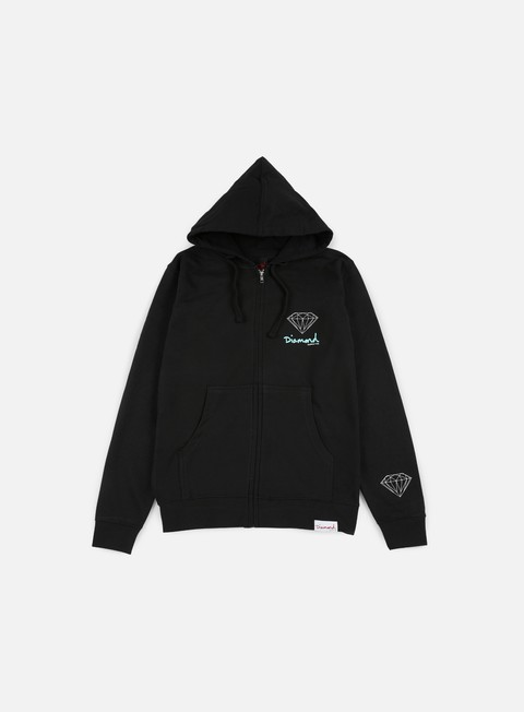 felpe diamond supply og sign zip hoodie black