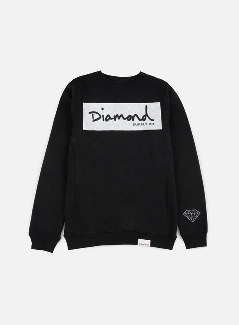 felpe diamond supply radiant box logo crewneck black