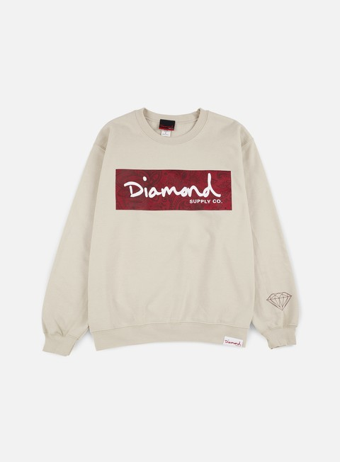 felpe diamond supply radiant box logo crewneck cream
