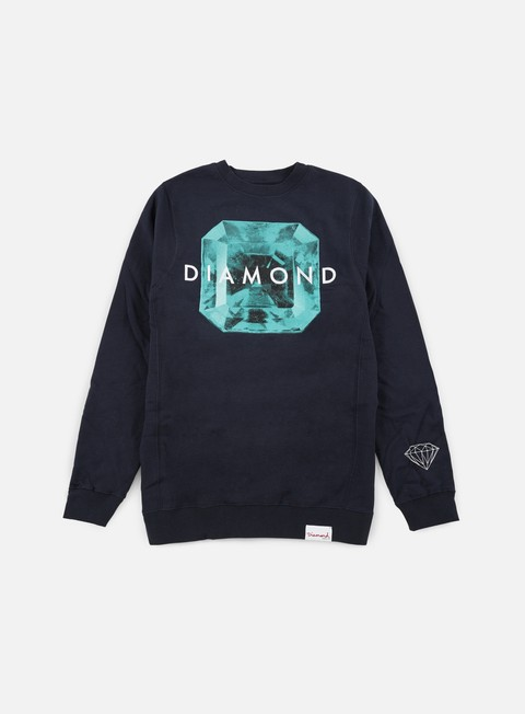 felpe diamond supply rare gem crewneck navy