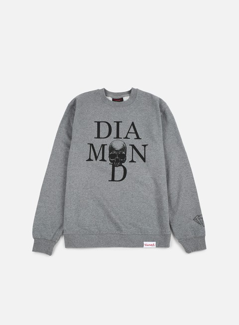 felpe diamond supply skull crewneck gunmetal heather
