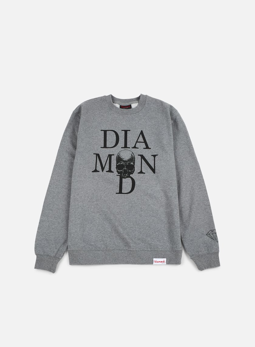Diamond Supply - Skull Crewneck, Gunmetal Heather