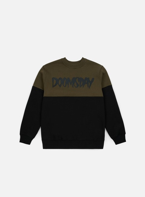 felpe doomsday logo 2 tone crewneck army green black