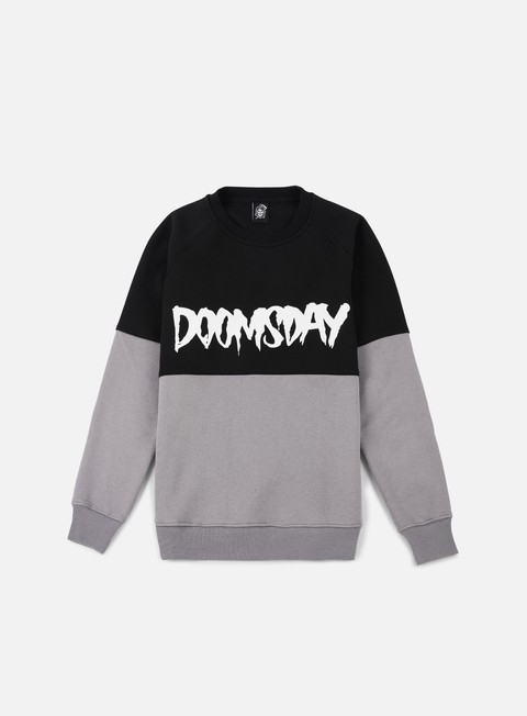 felpe doomsday logo 2 tone crewneck black dark grey
