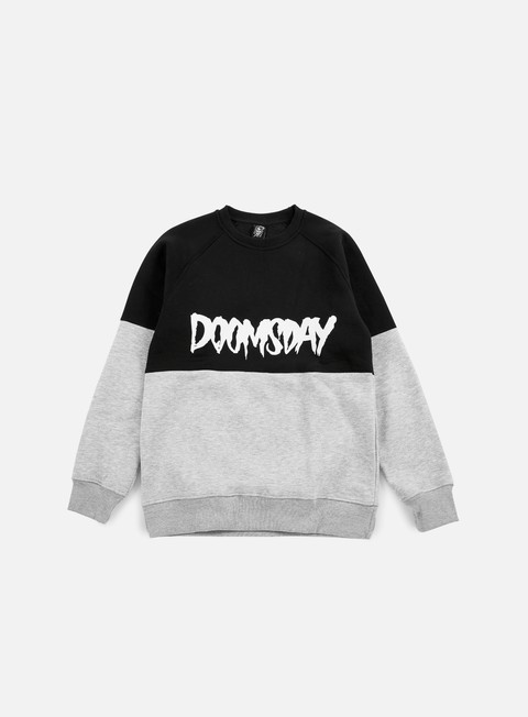 felpe doomsday logo 2 tone crewneck black grey