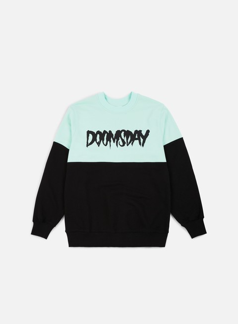 felpe doomsday logo 2 tone crewneck black mint soft brushed