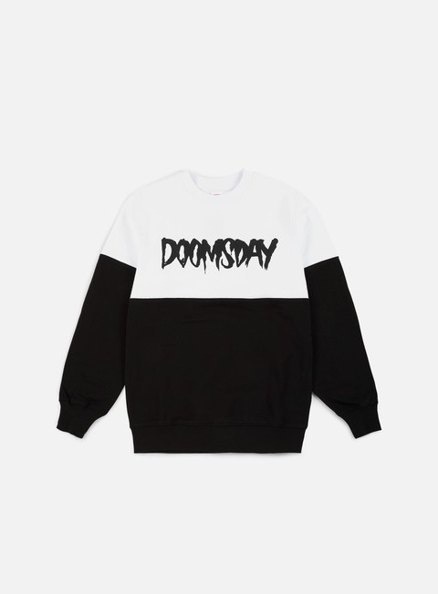 felpe doomsday logo 2 tone crewneck black white soft brushed