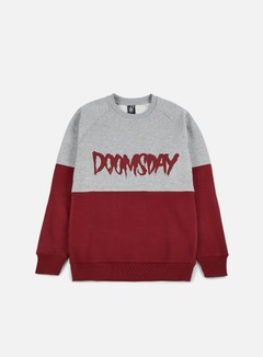 Doomsday - Logo 2 Tone Crewneck, Burgundy/Grey 1