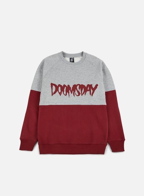 felpe doomsday logo 2 tone crewneck burgundy grey