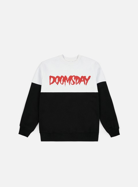 felpe doomsday logo 2 tone crewneck white black