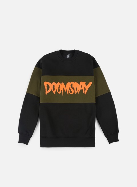 felpe doomsday logo 3 tone crewneck black green