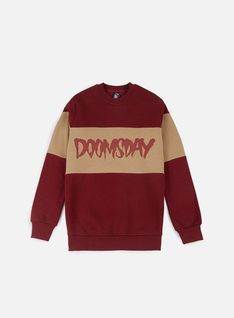 felpe doomsday logo 3 tone crewneck burgundy cream