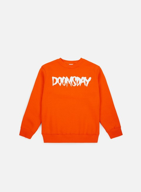 felpe doomsday logo crewneck orange white