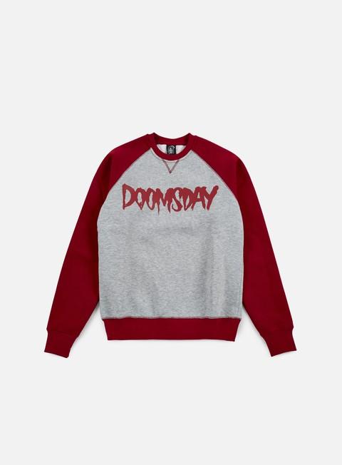 felpe doomsday logo crewneck sport grey burgundy