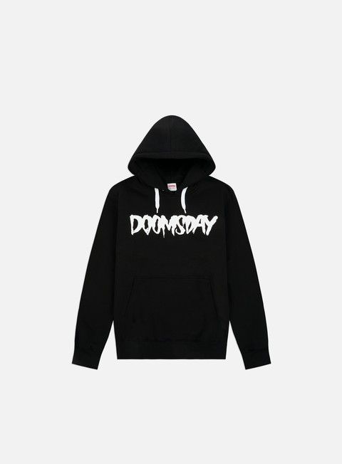 felpe doomsday logo hoody black white drawstring