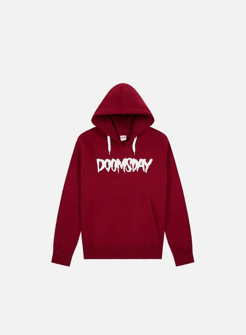 felpe doomsday logo hoody burgundy white
