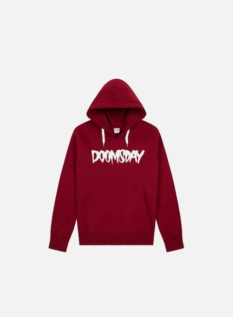 felpe doomsday logo hoody burgundy white