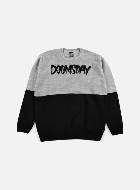 felpe doomsday logo knit 2 tone crewneck black grey