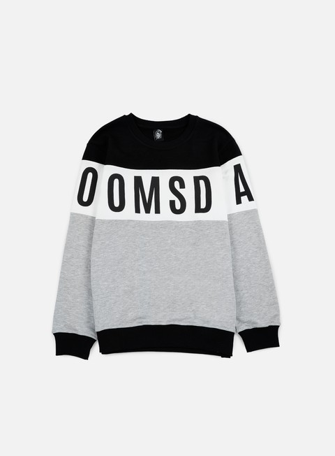 felpe doomsday logo round crewneck black white grey