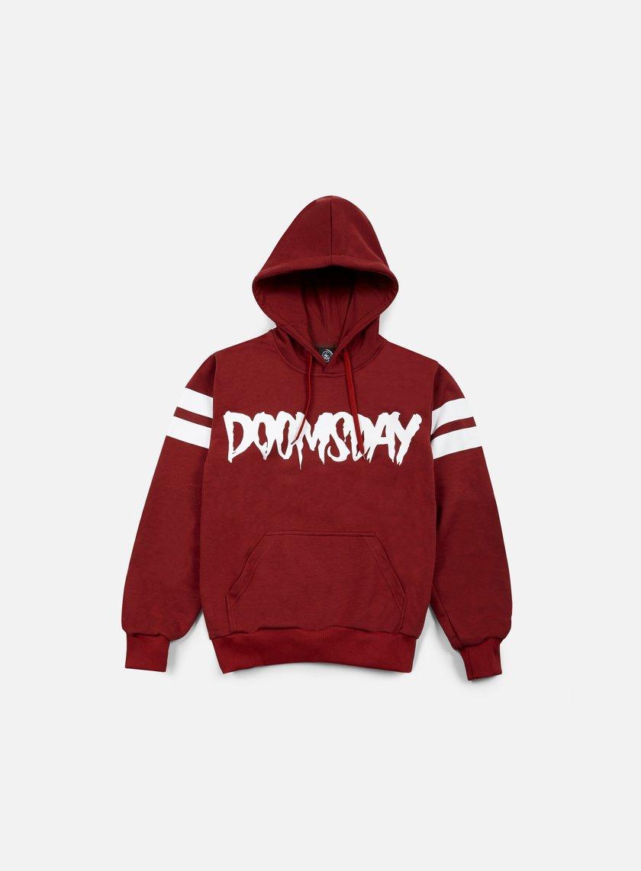 Doomsday - Logo Stripes Hoodie, Burgundy/White
