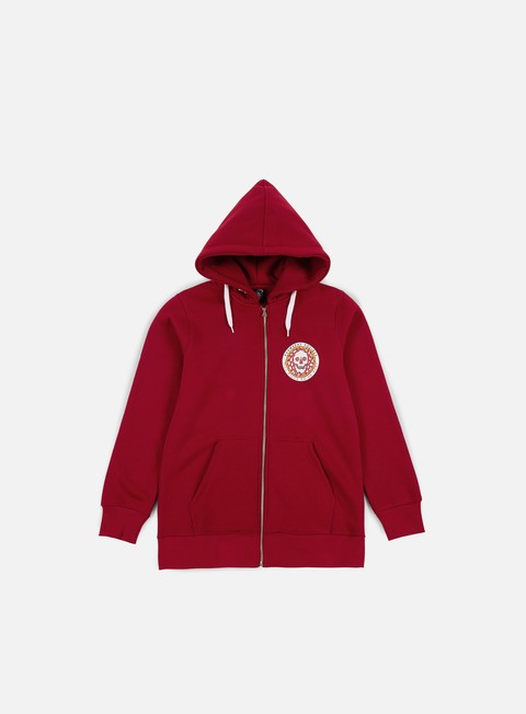 felpe doomsday pizza zip hoody red