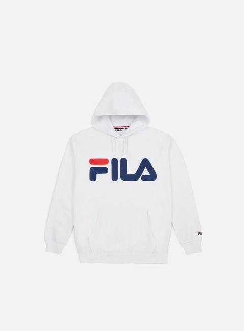 felpe fila classic logo hoodie kangaroo bright white