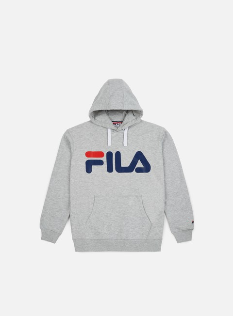 felpe fila classic logo hoodie kangaroo light grey