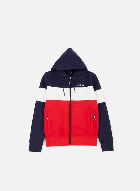 felpe fila hugo zip hoodie peacoat red white