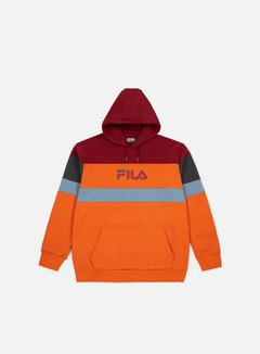 Fila - Larry Hoodie, Harvest Pumpkin/Merlot/Dark Grey Melange/Blue Shadow