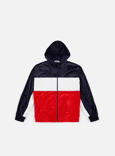 felpe fila oscar velour hoodie peacoat red white