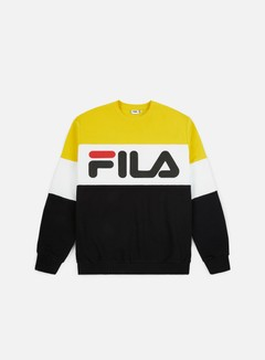 Fila - Straight Blocked Crewneck, Black/Empire Yellow/Bright White