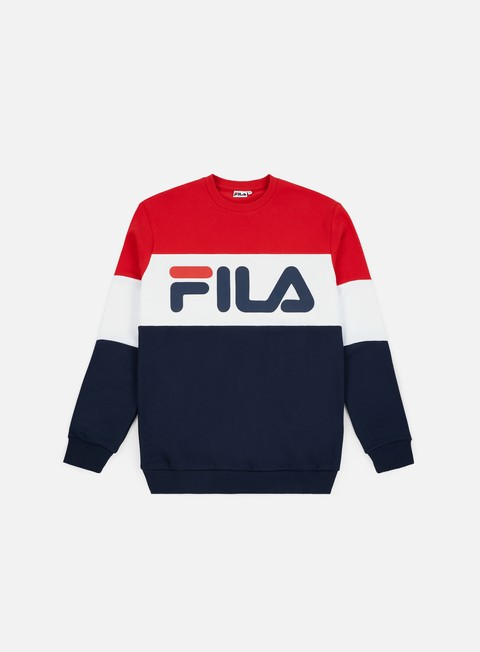 felpe fila straight blocked crewneck black iris bright white true red