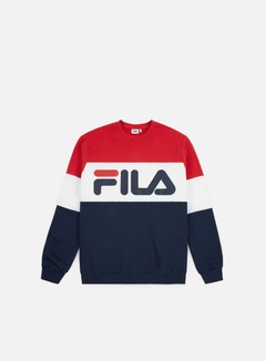 Fila - Straight Blocked Crewneck, Black Iris/True Red/Bright White