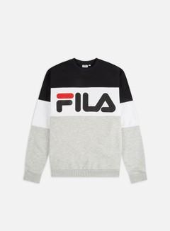 Fila - Straight Blocked Crewneck, Black/Light Grey Melange/Bright White