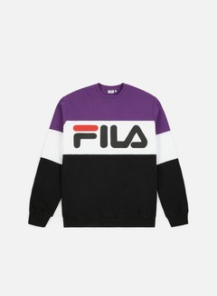 Fila - Straight Blocked Crewneck, Black/Tillandsia/Purple/Bright White