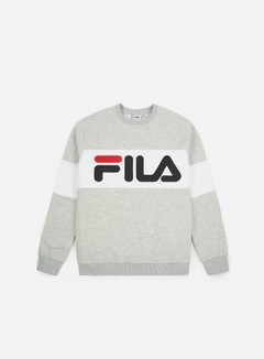 Fila - Straight Blocked Crewneck, Light Grey Melange Bros/Bright White