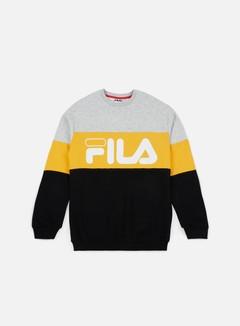 Fila - Straight Blocked Crewneck, Light Grey Melange/Old Gold/Black