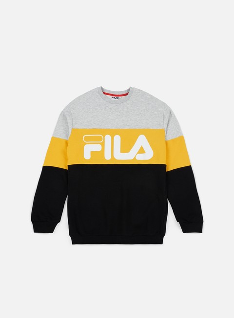 felpe fila straight blocked crewneck light grey melange old gold black