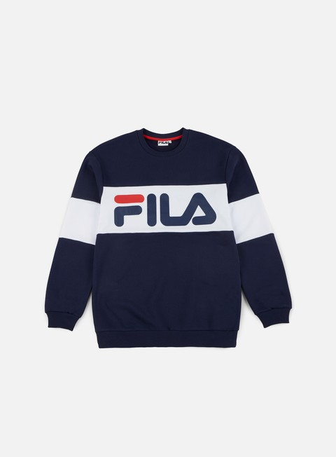 felpe fila straight blocked crewneck peacoat