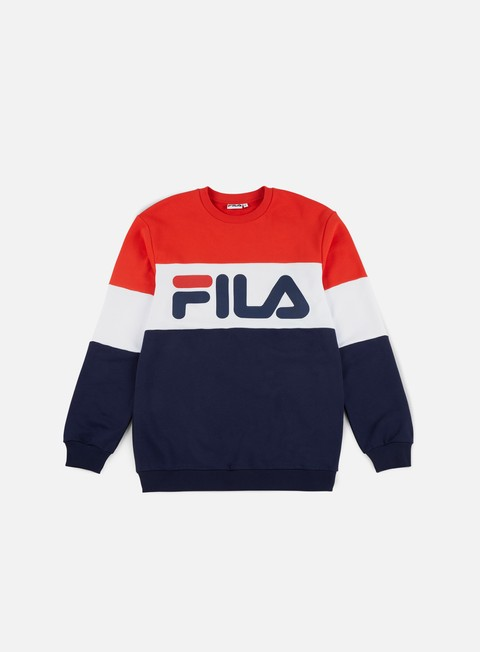 felpe fila straight blocked crewneck peacoat high risk red bright white