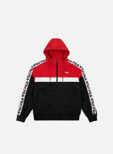 felpe fila teela track zip hoodie true red bright white black