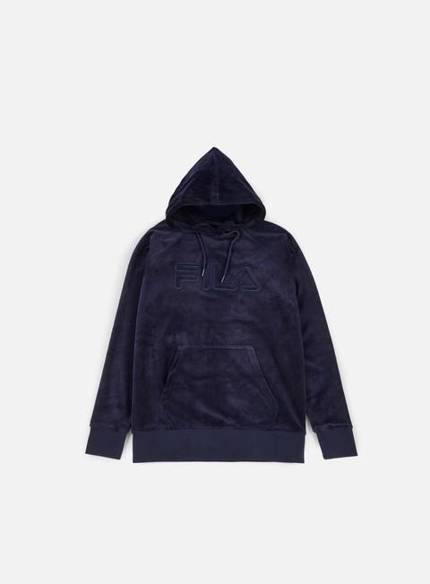 felpe fila velour overhead hoodie peacoat
