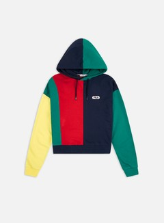Fila - WMNS Bayou Blocked Hoodie, Black Iris/True Red/Teal Green/Aurora