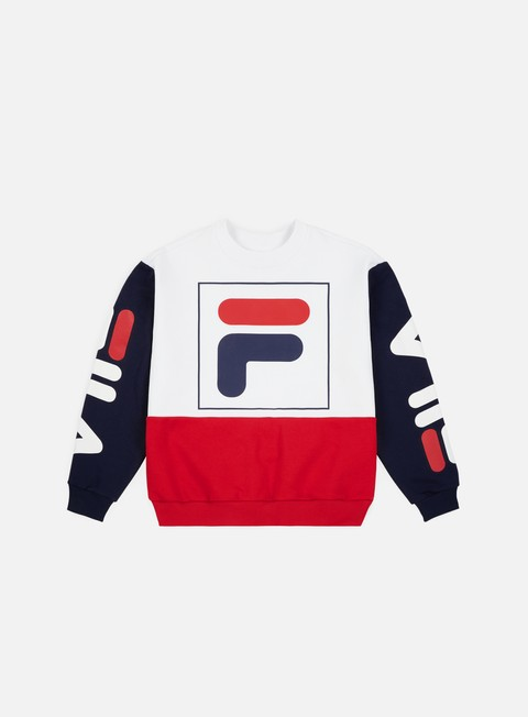 felpe fila wmns date 20 crewneck bright white true red black iris