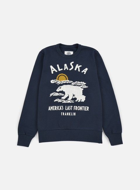 felpe franklin e marshall alaska embroidered crewneck navy