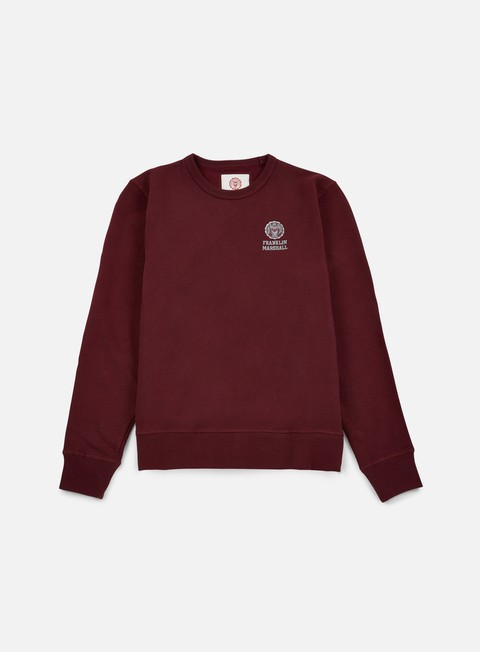 felpe franklin e marshall basic logo embroidery crewneck bordeaux