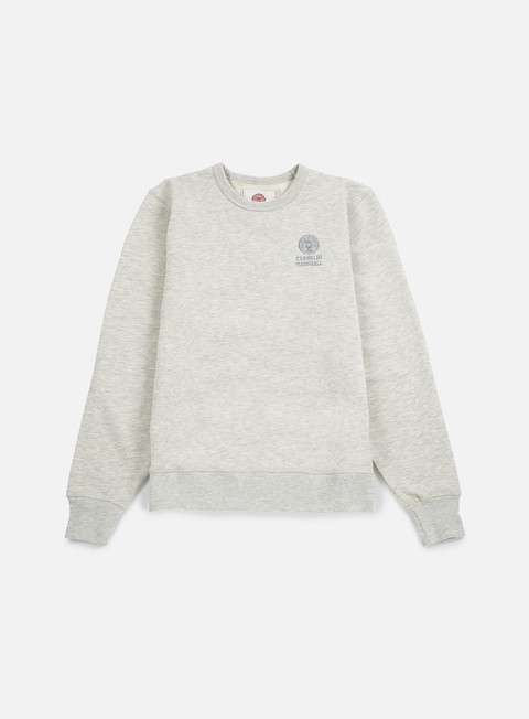 felpe franklin e marshall basic logo embroidery crewneck original grey