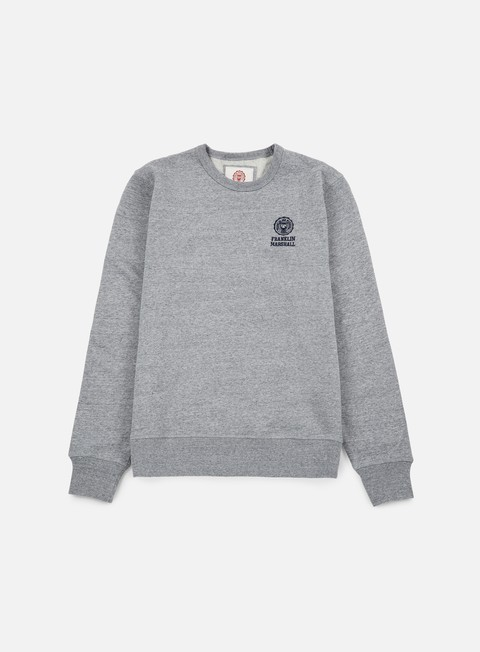 felpe franklin e marshall basic logo embroidery crewneck sport grey
