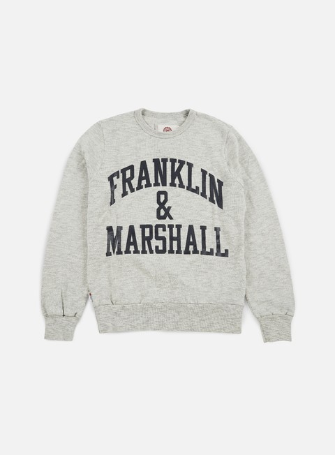 felpe franklin e marshall big logo crewneck fleece sport grey melange